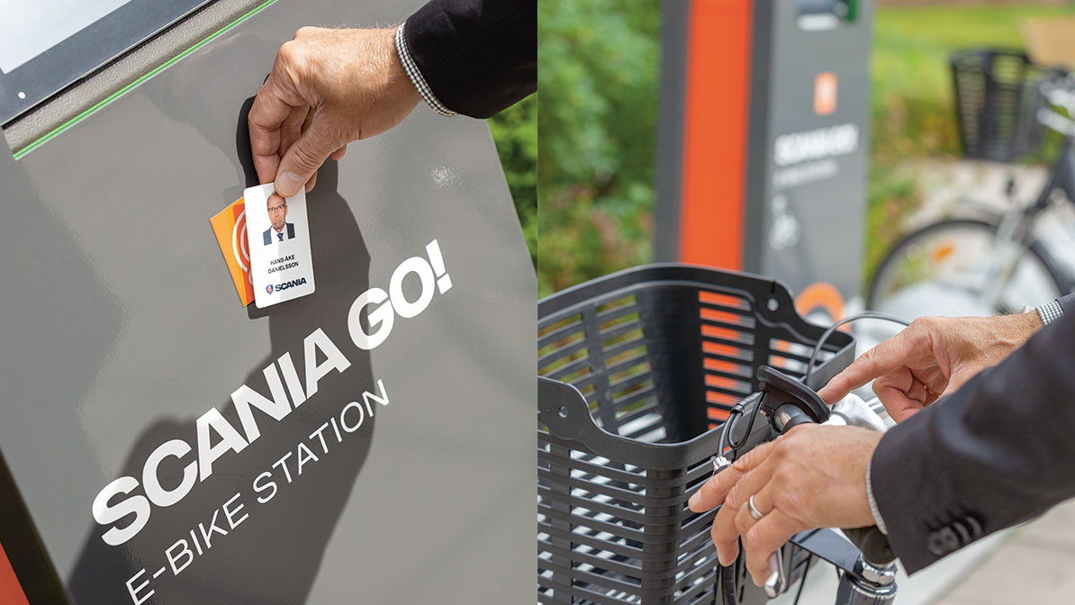 All you need to pick up your e-bike from the charging station is your employee card.